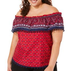 Caribbean Joe Plus Mixed Medallion Off The Shoulder Top