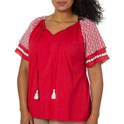 Caribbean Joe Plus Embroidered Crochet Tassel Tie Top