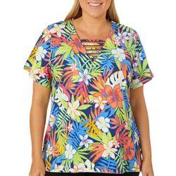 Caribbean Joe Plus Tropical Floral Printed Bar Neck Top