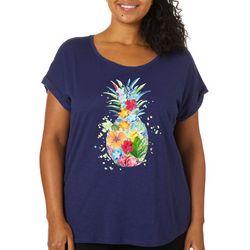 Caribbean Joe Plus Embellished Pineapple Screen Print Top