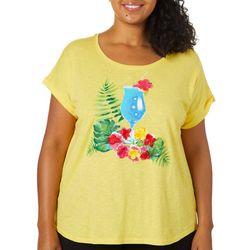 Caribbean Joe Plus Embellished Tropical Drink Print Top