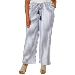 Caribbean Joe Plus Stripe Tassel Drawstring Pants