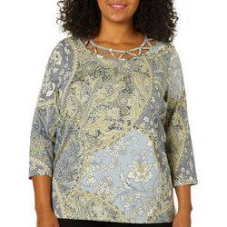 Caribbean Joe Plus Gypsy Rose Caged Neck Top