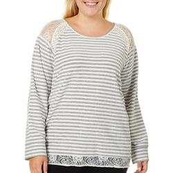 Caribbean Joe Plus Stripe Lace Trim Sweater