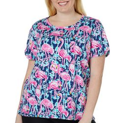 Caribbean Joe Plus Flamingo Fun Split Shoulder Top