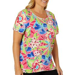 Caribbean Joe Plus Tropical Floral Short Sleeve Top