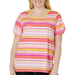 Caribbean Joe Plus Living Coral Stripe Split Shoulder Top