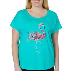 Caribbean Joe Plus Colorful Dot Flamingo Top