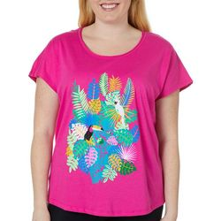 Caribbean Joe Plus Tropical Toucan Short Sleeve Top