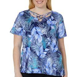 Caribbean Joe Plus Tropical Palm Print Crisscross Neck Top