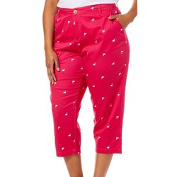 Caribbean Joe Plus Flamingo Print Sateen Capris