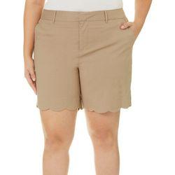 Caribbean Joe Plus Solid Scalloped Hem Twill Shorts