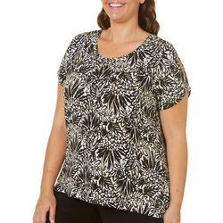 Caribbean Joe Plus Aloha Floral Split Shoulder Top