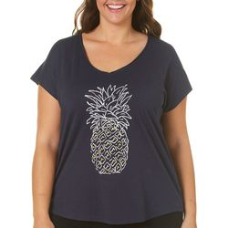 Caribbean Joe Plus Tropical Pineapple Screen Print T-Shirt