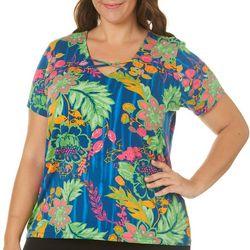Caribbean Joe Plus Floral Crisscross Neck Top