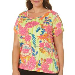 Caribbean Joe Plus Neon Floral Split Shoulder Top