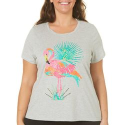 Caribbean Joe Plus Sequin Flamingo Heathered Top