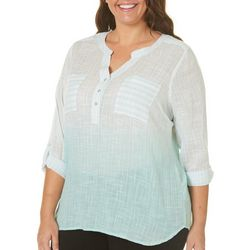 Caribbean Joe Plus Ombre Stripe Roll Tab Top