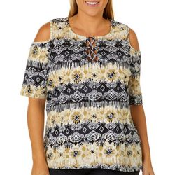 Caribbean Joe Plus Damask Lace Up Cold Shoulder Top