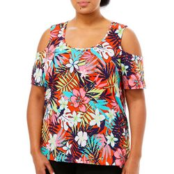 Caribbean Joe Plus Tropical Floral Print Cold Shoulder Top