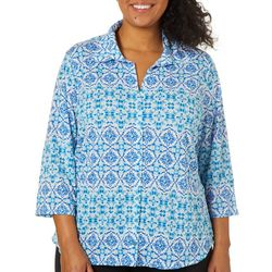 Caribbean Joe Plus Tile Print Button Down Top
