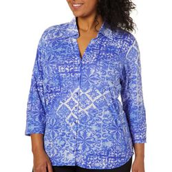 Caribbean Joe Plus Tropical Bliss Printed Button Down Top