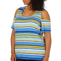Caribbean Joe Plus Striped Cold Shoulder Top