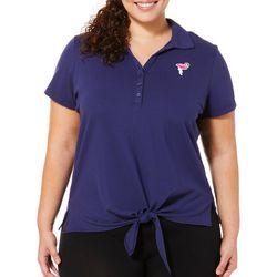 Caribbean Joe Plus Flamingo Tie Front Polo Shirt