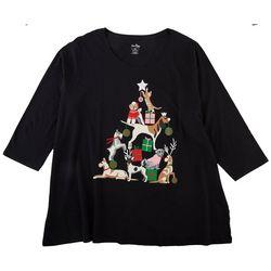 SunBay Womens Plus Animal Christmas Round Neck Top