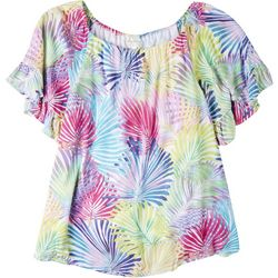Hailey Lyn Plus Multi Fronds Off The Shoulder Top