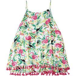 Hailey Lyn Plus Tropical Sleeveless Top With Tassles