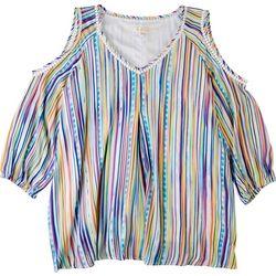 Hailey Lyn Plus Rainbow Open Shoulder Top