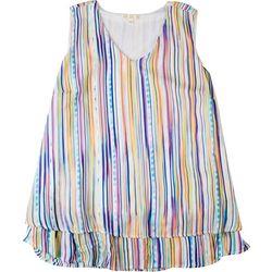 Hailey Lyn Plus Rainbow Striped Layered Sleeveless Top