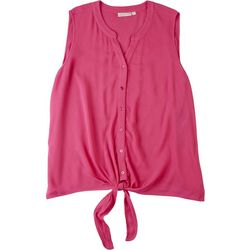 Hailey Lyn Plus Solid Tank Top Front Tie