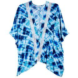 Hailey Lyn One Size Tones Of Blue Print Kimono