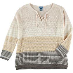 Caribbean Joe Plus Ombre Lace Up Sweater