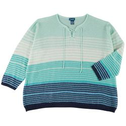 Plus Ombre Lace Up Sweater