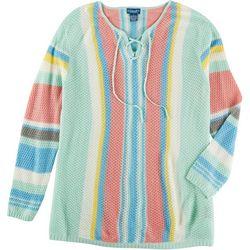 Caribbean Joe Plus Vibrant Stripe Lace Up Sweater
