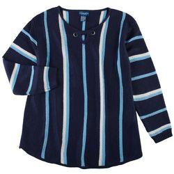 Caribbean Joe Plus Striped Keyhole Neck Beach Sweater