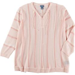 Plus Striped Lace Up Sweater