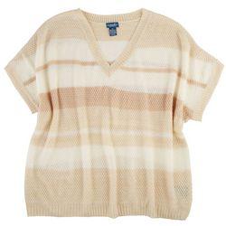 Caribbean Joe Plus Striped Short Sleeve Sweater