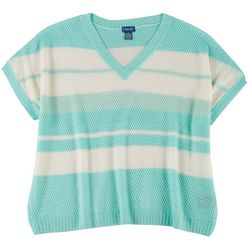 Caribbean Joe Plus Striped Short Sleeve Sweater