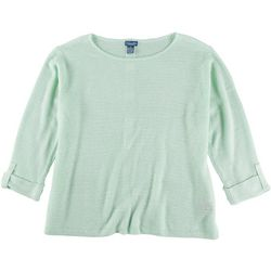 Caribbean Joe Plus Solid Button Back Beach Sweater