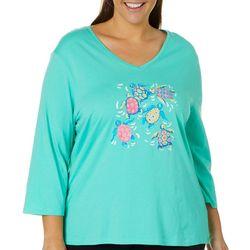 SunBay Plus Colorful Sea Turtles Top