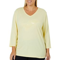 SunBay Plus Embroidered Sand Pipers Top