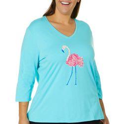 SunBay Plus Jeweled Flamingo Top