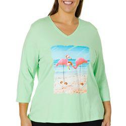 SunBay Plus Flamingo Santa Hat Screen Print Top