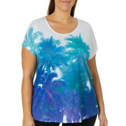 SunBay Plus Palm Tree Print Heathered Top