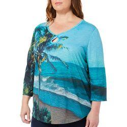 SunBay Plus Palm Tree Beach Scene Print Top