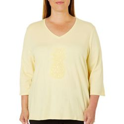 SunBay Plus Sequin Pineapple V-Neck Top